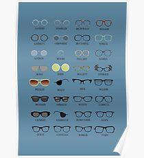 Glasses - Blue Background Poster
