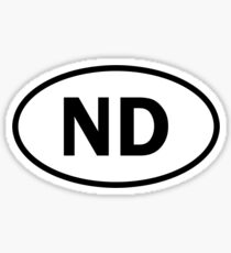 North Dakota - ND - oval sticker and more Sticker