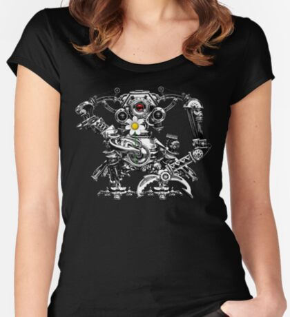 Cyberpunk Vintage Robot with Flower Steampunk T-Shirts Fitted Scoop T-Shirt