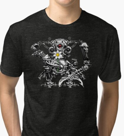 Cyberpunk Vintage Robot with Flower Steampunk T-Shirts Tri-blend T-Shirt