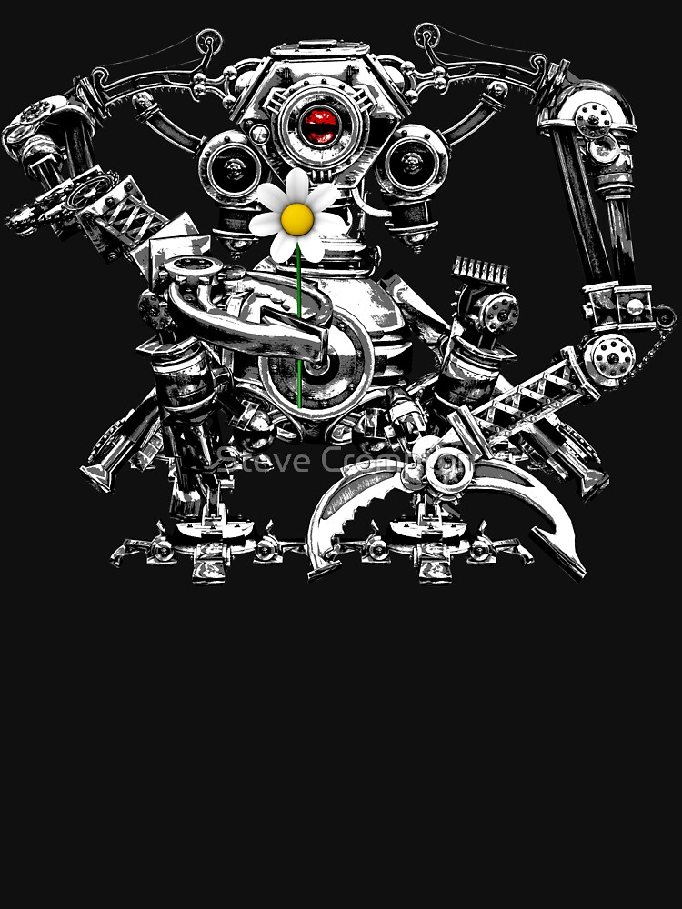 Cyberpunk Vintage Robot with Flower Steampunk T-Shirts by SC001