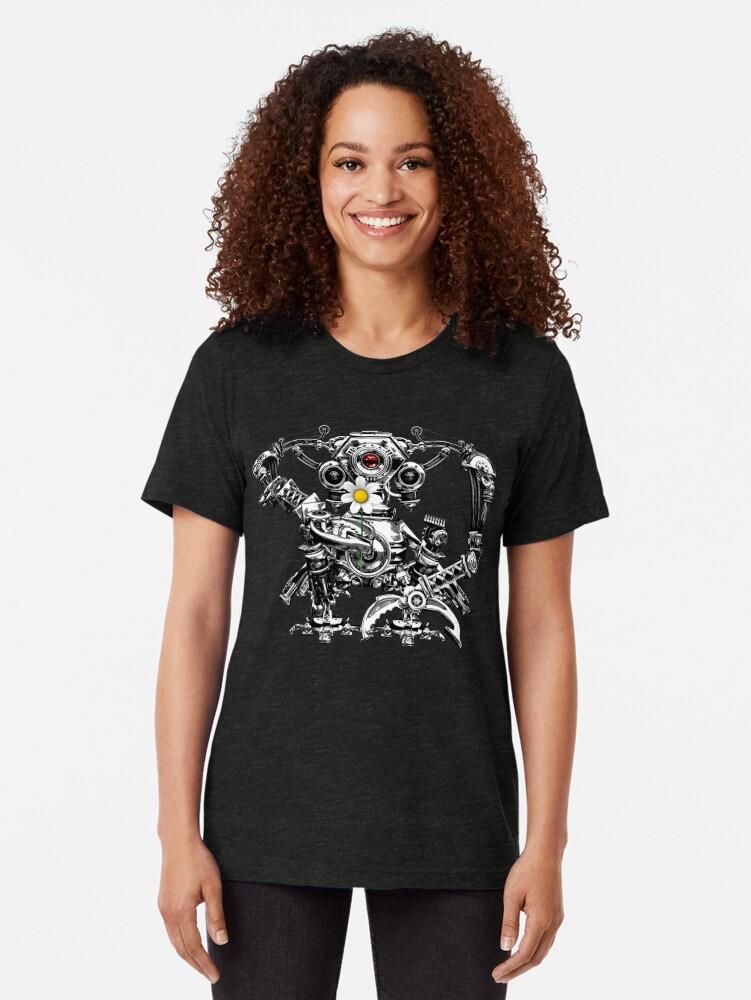 Alternate view of Cyberpunk Vintage Robot with Flower Steampunk T-Shirts Tri-blend T-Shirt