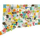 Connecticut Love - Bright and Colorful Collage Quilt State Map Art by traciwithani