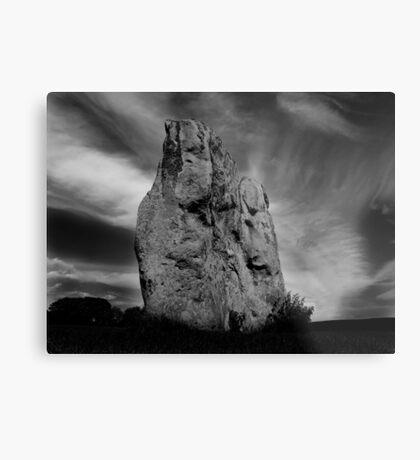 Avebury Stone in Black and White Metal Print