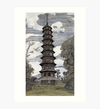 44 - THE PAGODA - KEW GARDENS - WATERCOLOUR & INK - DAVE EDWARDS - 1986 Art Print