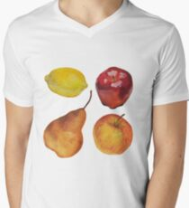Painted fruit - still life painting V-Neck T-Shirt