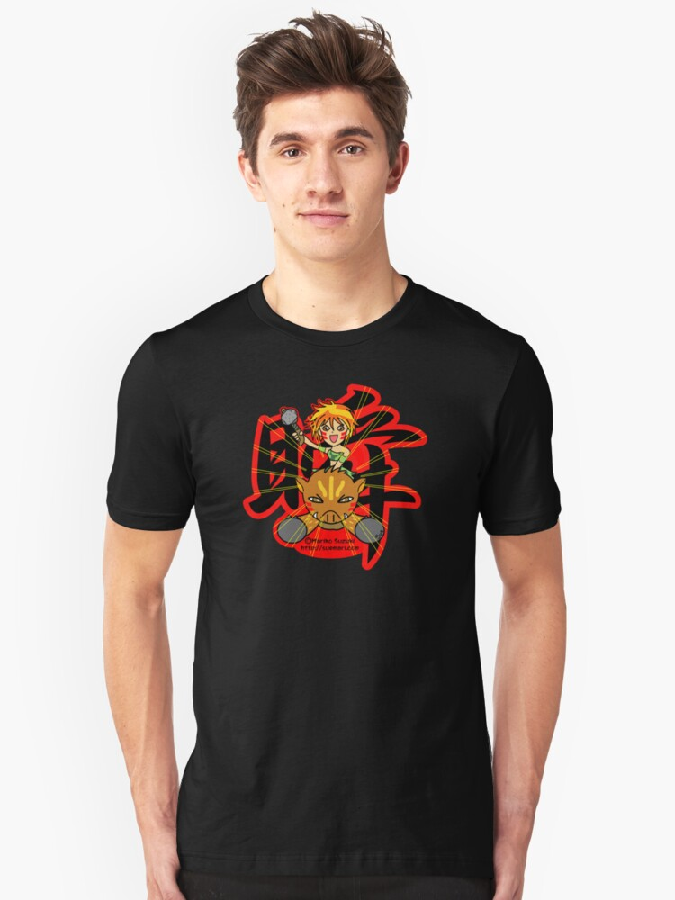 Wild girl and pig (Flash) Unisex T-Shirt Front