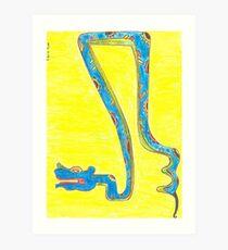 Blue Snake Flying in Yellow Sky or Zaquicaz Art Print