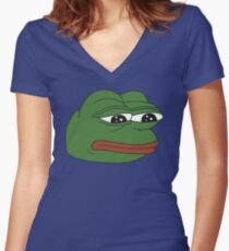 Pepe the frog - Sad frog Women's Fitted V-Neck T-Shirt