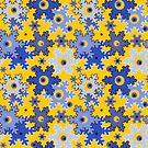 Pixel, Christmas pattern, snowflakes, yellow and blue, Christmas 3 by fuzzyfox