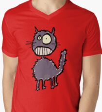 the cat is easily scared Mens V-Neck T-Shirt