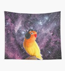 Space Bird Listening to Music Wall Tapestry