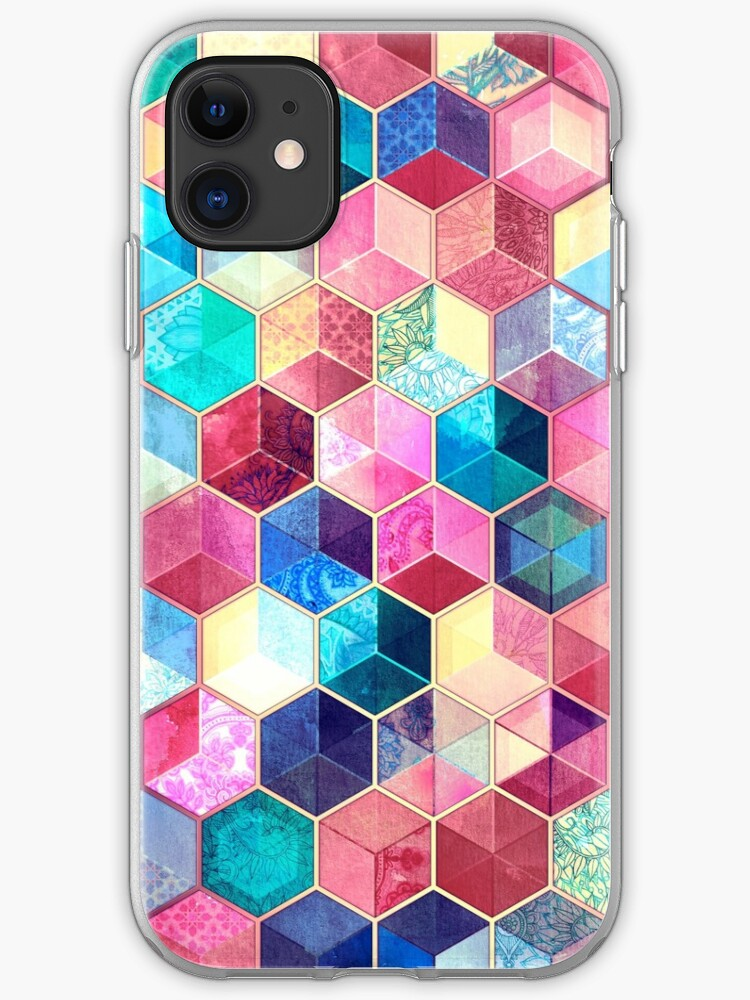 Crystal Bohemian Honeycomb Cubes - colorful hexagon pattern iphone 11 case