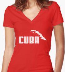 CUBA Women's Fitted V-Neck T-Shirt