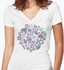 Kaleidoscope Crystals - Grey  Fitted V-Neck T-Shirt
