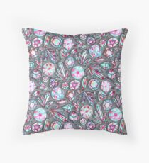 Kaleidoscope Crystals - Grey  Throw Pillow