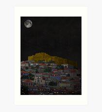 Molyvos II Lesvos Greece Moonlight Art Print