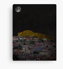 Molyvos II Lesvos Greece Moonlight Canvas Print