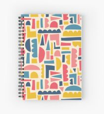 Kids Shapes Collage Blue Pink Yellow Spiral Notebook