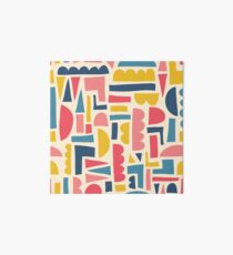 Kids Shapes Collage Blue Pink Yellow Art Board Print