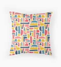 Kids Shapes Collage Blue Pink Yellow Floor Pillow