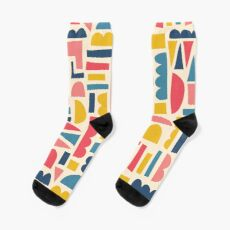 Kids Shapes Collage Blue Pink Yellow Sock