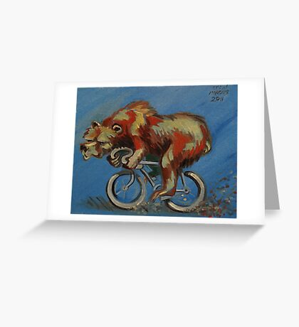Grizzly on a Bicycle Greeting Card