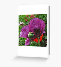 DeepDream Flowers, Poppies 001 Greeting Card