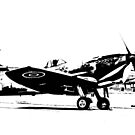 Black and White Spitfire Scene by Lee Eyre
