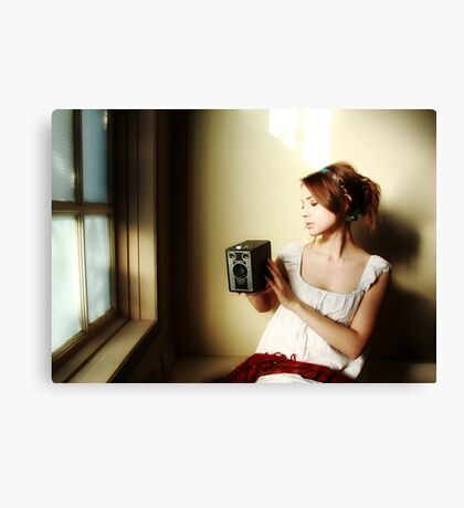 Learning to See (Self Portrait with Vintage Kodak Brownie) Canvas Print