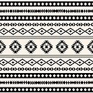 Aztec Black on Cream Mixed Motifs Pattern by NataliePaskell