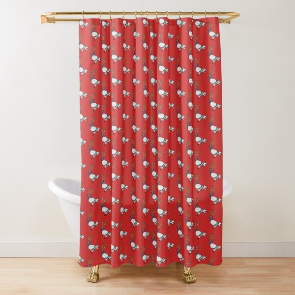 Christmas Reindeer Fred the Pigeon Shower Curtain