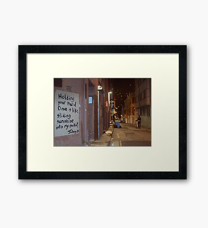 Holding Your Hand... Framed Print