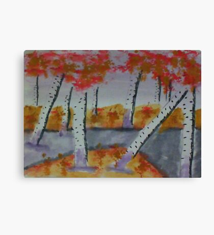Birch trees by a creek, watercolor Canvas Print