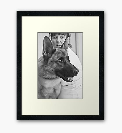 "She said"" OMG! Look what just came in the door!"" He said "" Yikes! He is bigger than I am !!""  Framed Print"