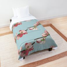 Pink on Blue Blossoms Comforter
