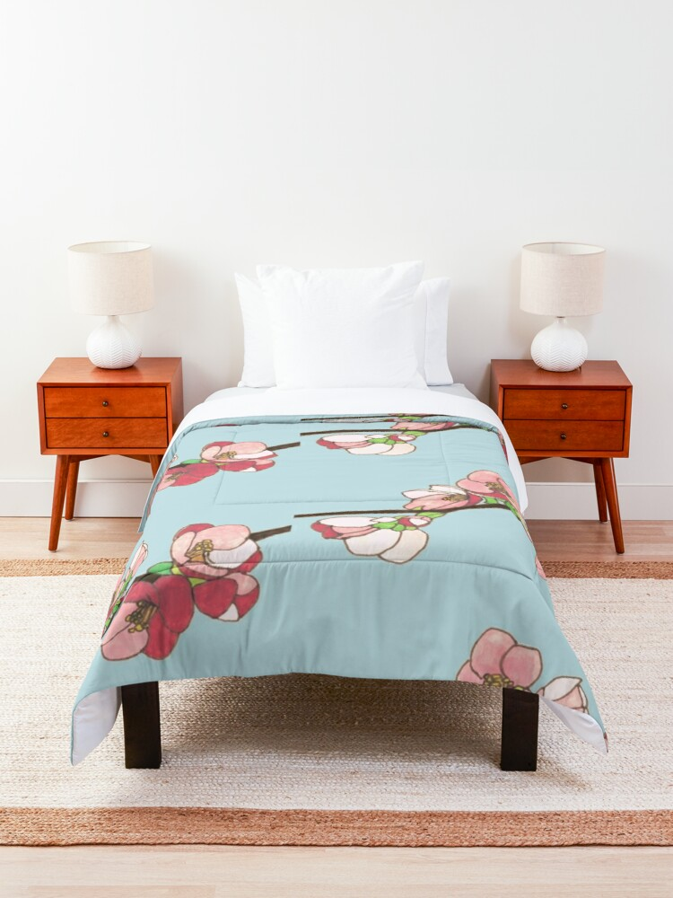 Alternate view of Pink on Blue Blossoms Comforter