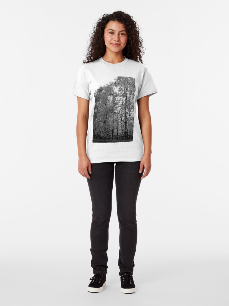 Alternate view of Autumn Trees in Black and White Classic T-Shirt