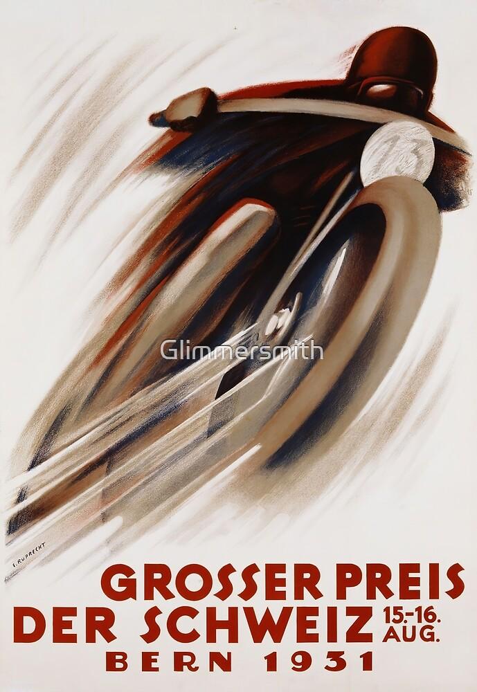Art Deco Swiss motorcycle advert motor sport by Glimmersmith