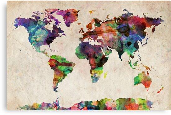 World Map Urban Watercolor by Michael Tompsett