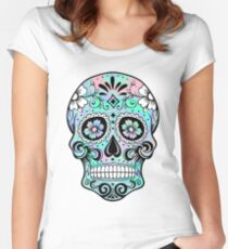 Sugar Skull Hologram Women's Fitted Scoop T-Shirt