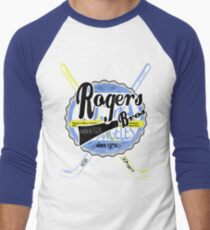 usa hockey tshirt by rogers bros co Men's Baseball ¾ T-Shirt