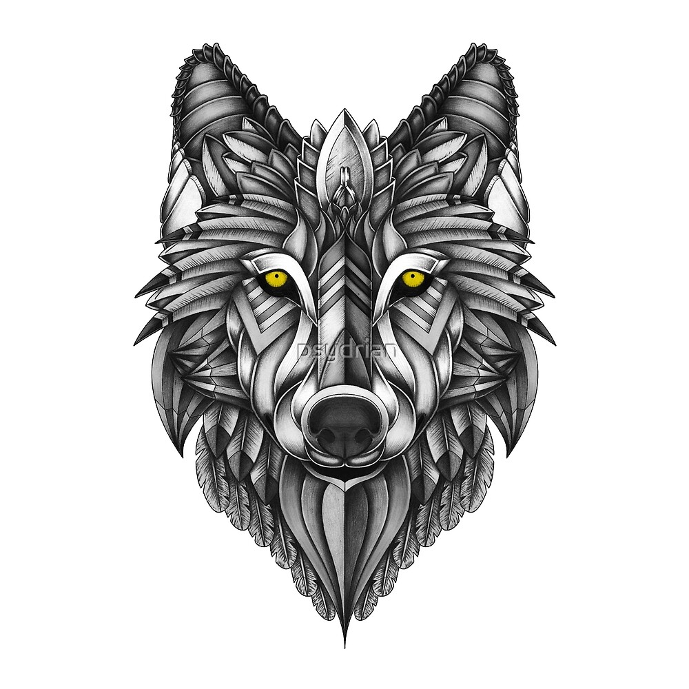 Quot Ornate Wolf Quot By Psydrian Redbubble