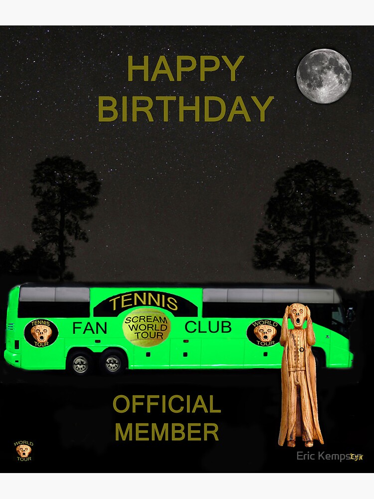 Le Bus De Tournée Scream World Tour Tennis Joyeux Anniversaire Carte De Vœux