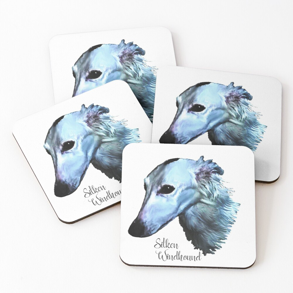 Silken Windhound In Blues Coasters (Set of 4)