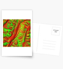 Green and red abstraction Postcards