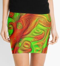 Green and red abstraction Mini Skirt