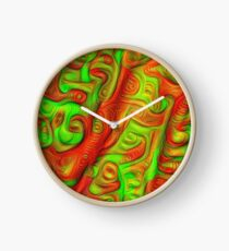 Green and red abstraction Clock