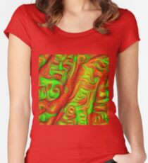 Green and red abstraction Fitted Scoop T-Shirt