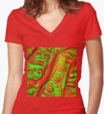Green and red abstraction Fitted V-Neck T-Shirt